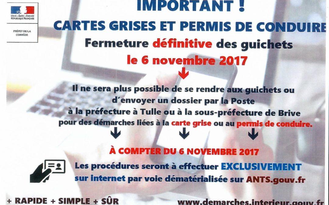 Délivrance des cartes grises et des permis de conduire sur internet à partir du 06 Novembre 2017